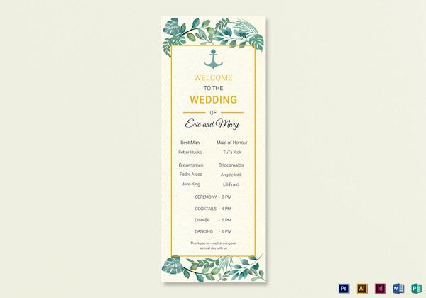 nautical wedding program card illustrator template