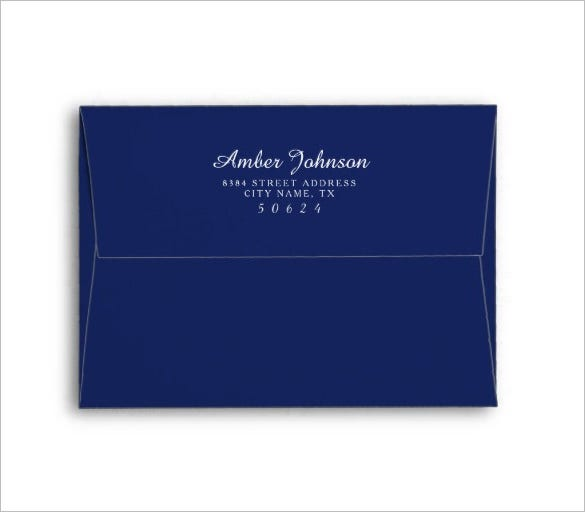 navy blue 5 x 7 pre addressed gift card envelope
