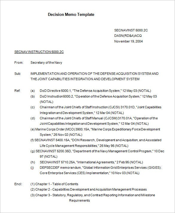 navy decision memorandum template download