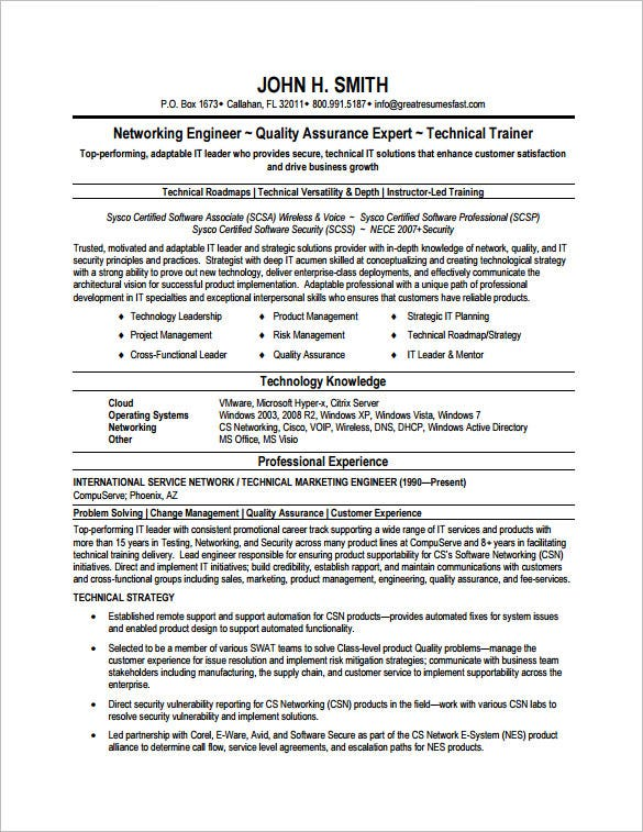 resume format network engineer