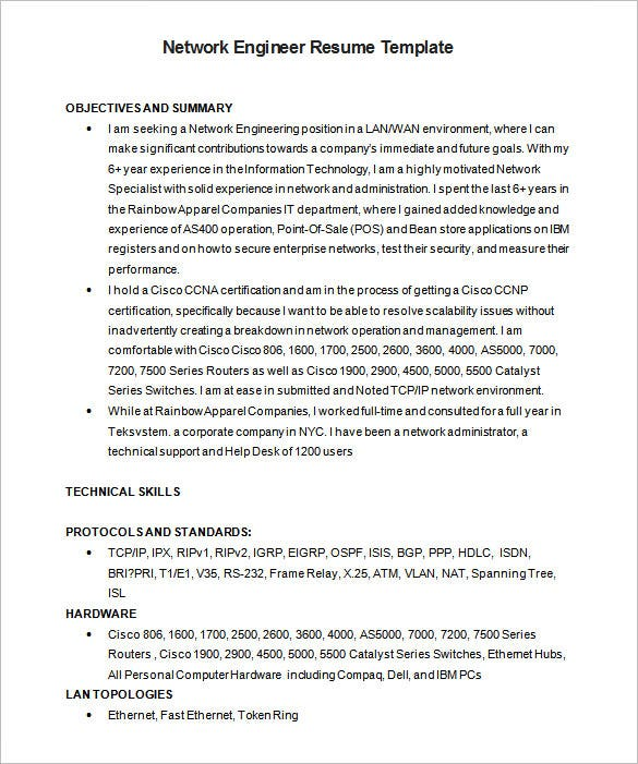 Network Engineer Resume Template 7 Free Samples