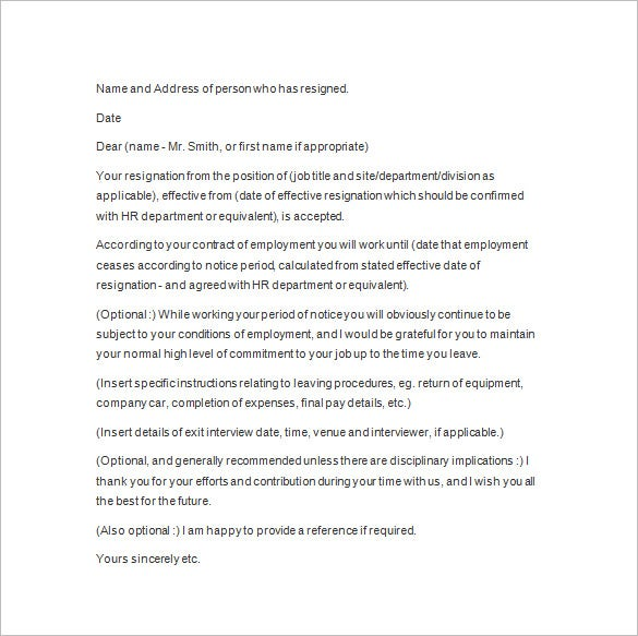 notice letter sample template
