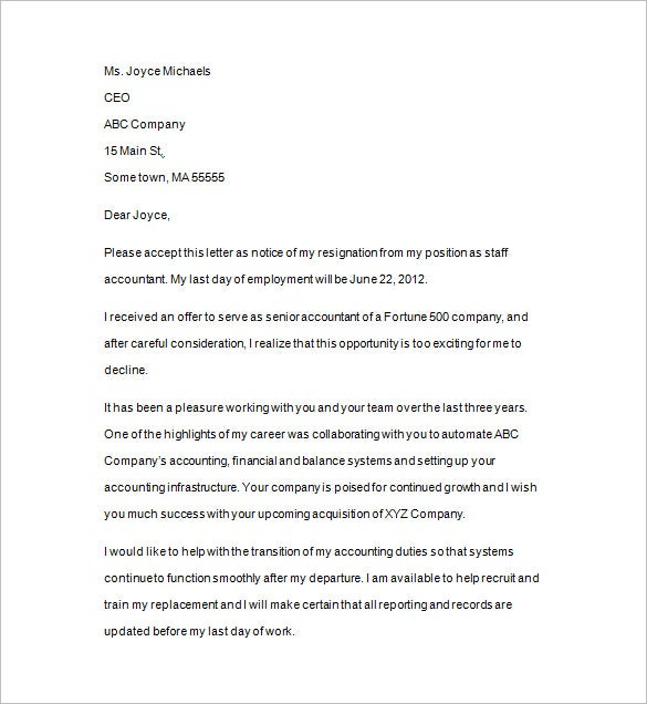 notice of resignation letter template
