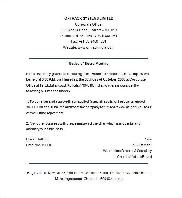 notice of board meeting template
