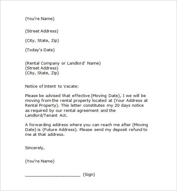 intent to vacate letter notice templates 104 free word pdf format 15046