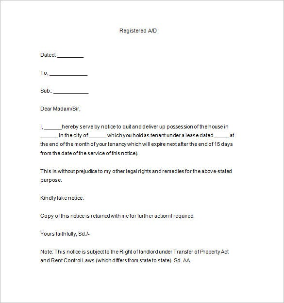 notice to terminate tenancy pdf - Termination Letter For Tenant From Landlord