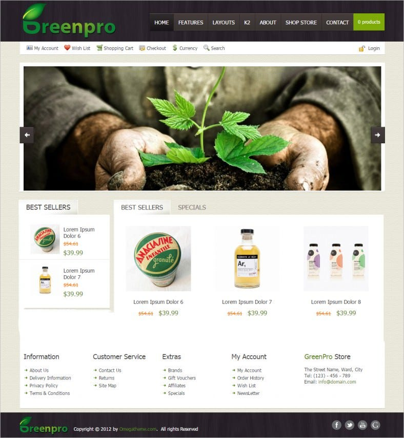 ot greenpro modern shopping cart and business joomla template 788x853