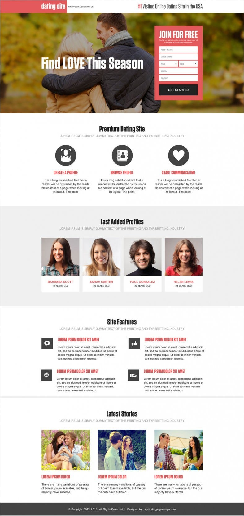 online dating land page template 788x1661