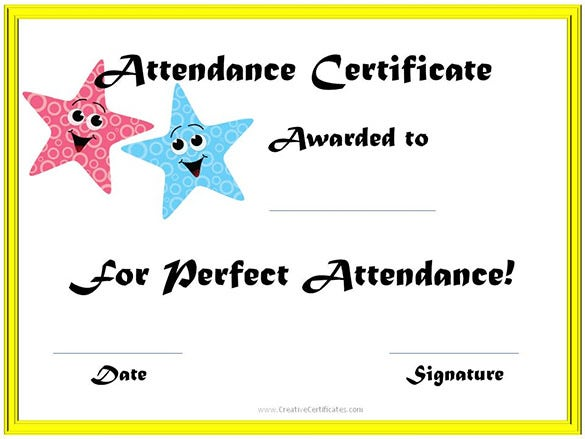 Great Online Editable School Attendance Certificate Template On Blank Certificate Of Attendance