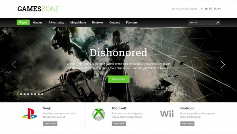 Online Gaming WordPress Template
