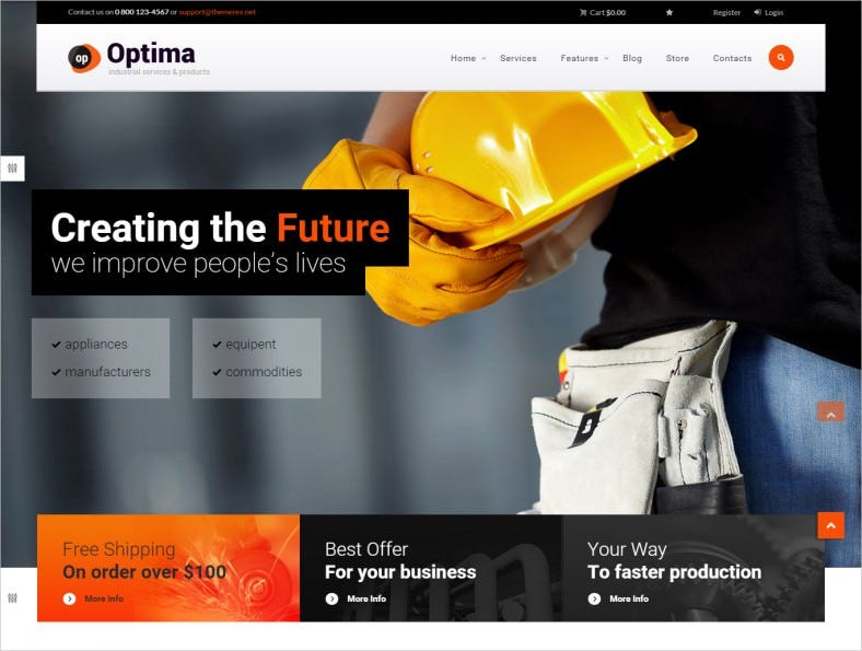 optima industrial wordpress theme 788x595