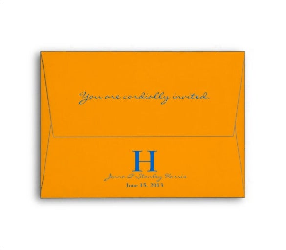 orange blue monogram wedding 4x6 envelope