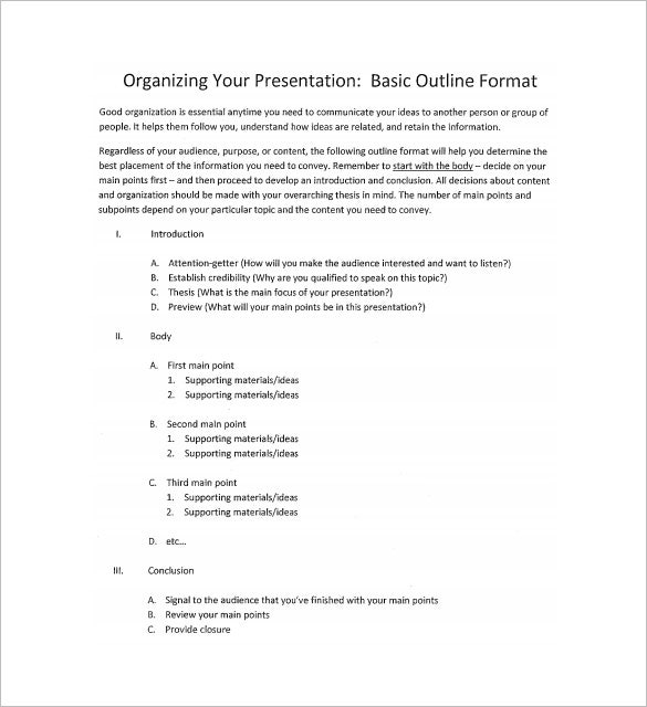 7+ Presentation Outline Templates – Free Ppt, Word & Pdf Documents