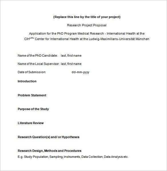 PHD Medical Research Proposal Template  Proposal Plan Template