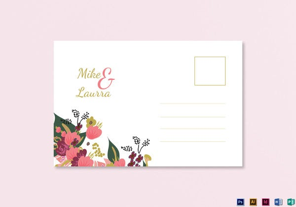 psd burgundy floral wedding post card
