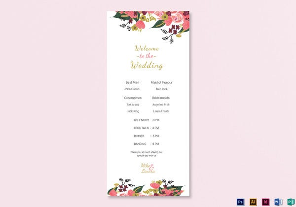 psd burgundy floral wedding program card