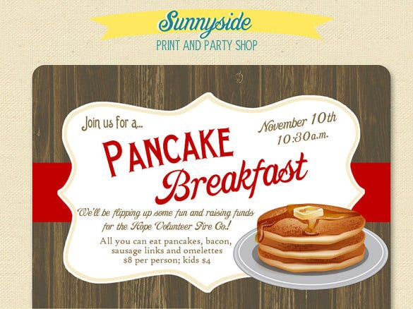 pancake breakfast invitation template