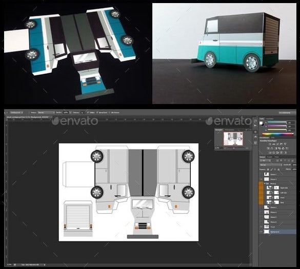 paper car truck template papercraft eps illustrator 4