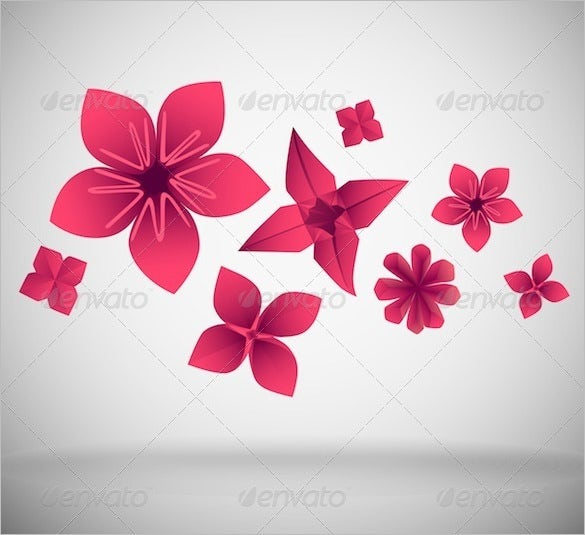 paper flowers vector eps 4