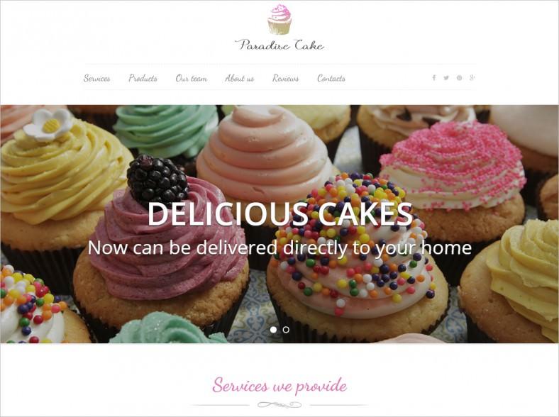 paradise cakes sweet ecommerce landing page 788x588