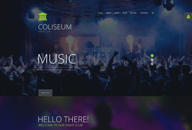 Parallax Background Joomla Theme for Night Club