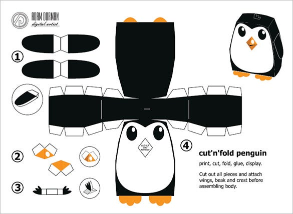 penguin paper folded template pdf