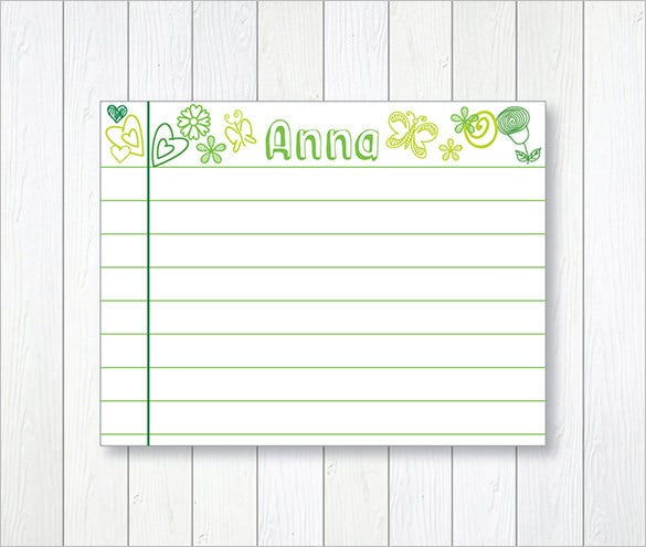word template for index cards