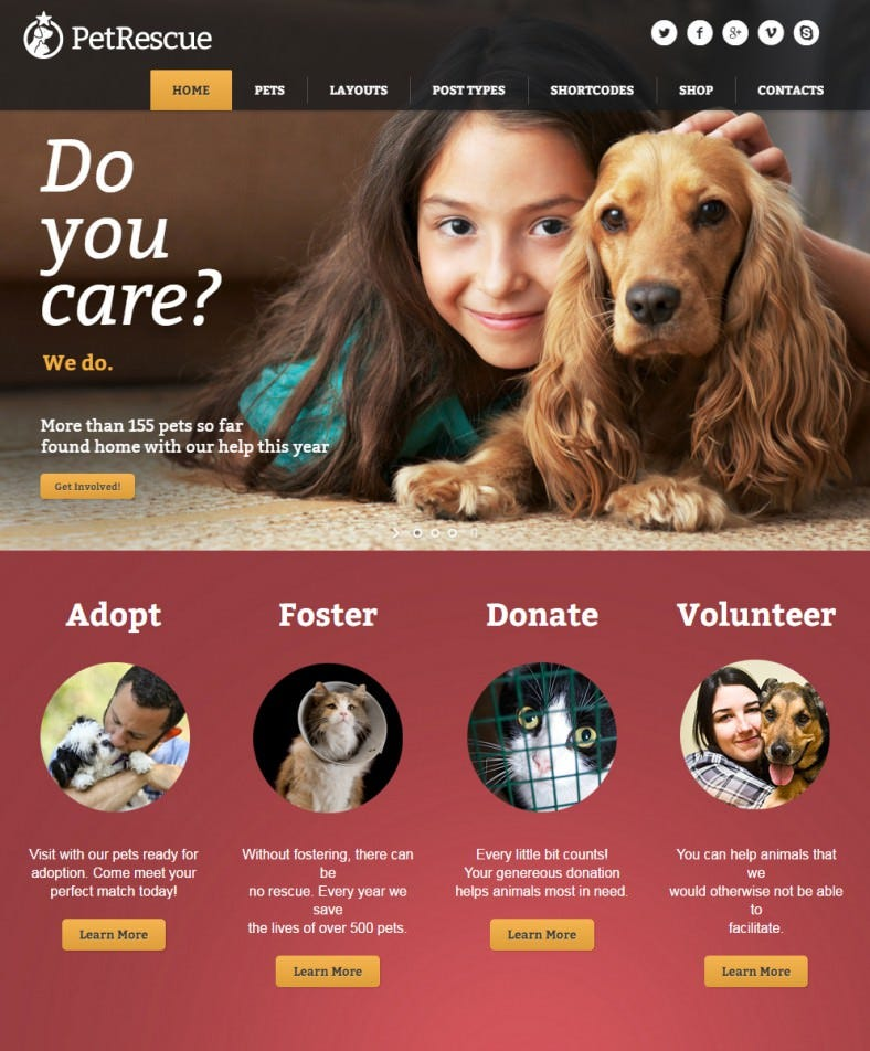 pet rescue animals shelter charity wp theme 788x952