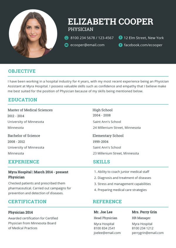 physician resume template to print
