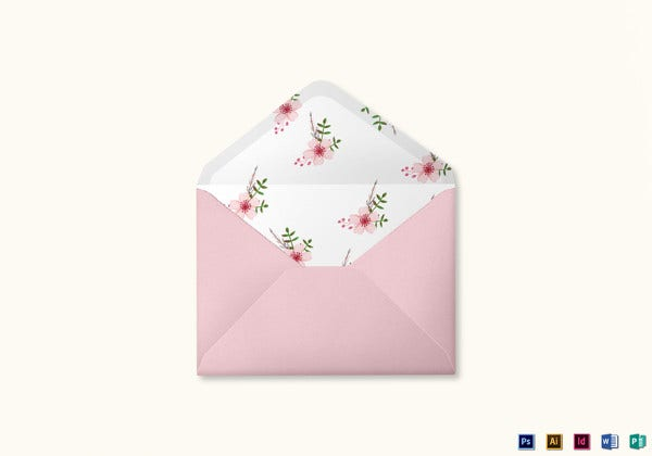 pink floral wedding envelope card illustrator template