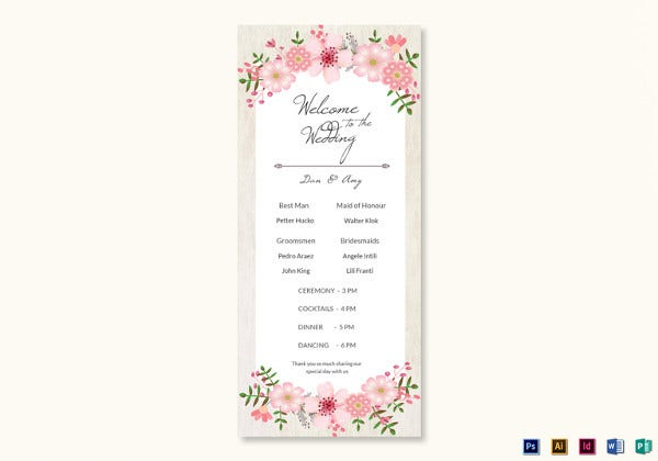 pink-floral-wedding-program-card-psd-template