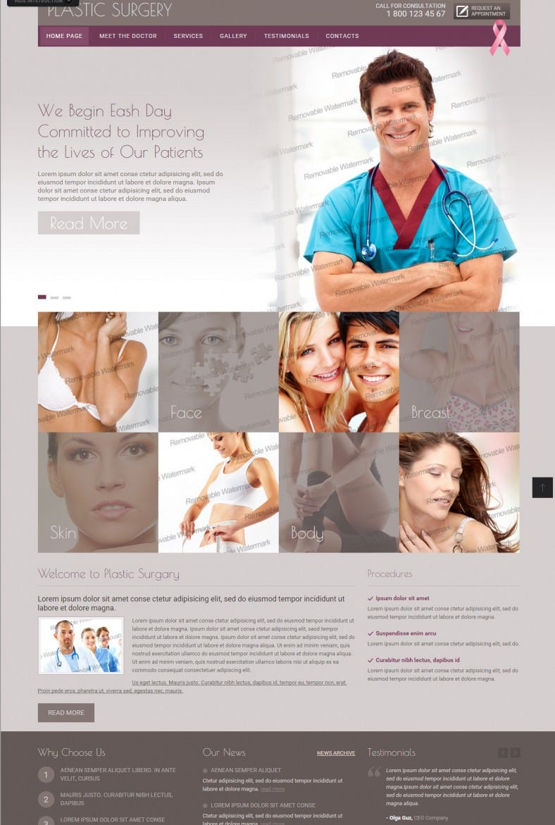 Plastic Surgery Bootstrap Theme