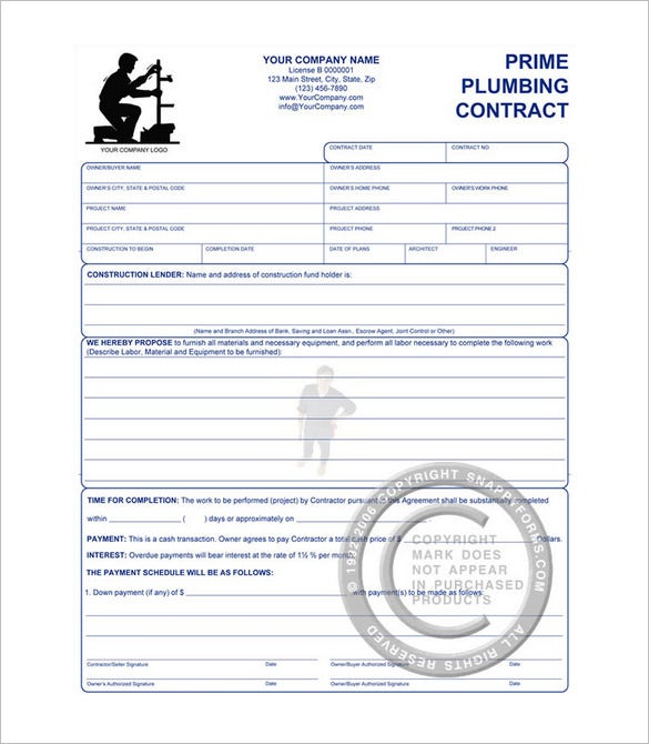 6 Plumbing Contract Templates Free Word PDF Format Download – Construction Work Schedule Templates Free