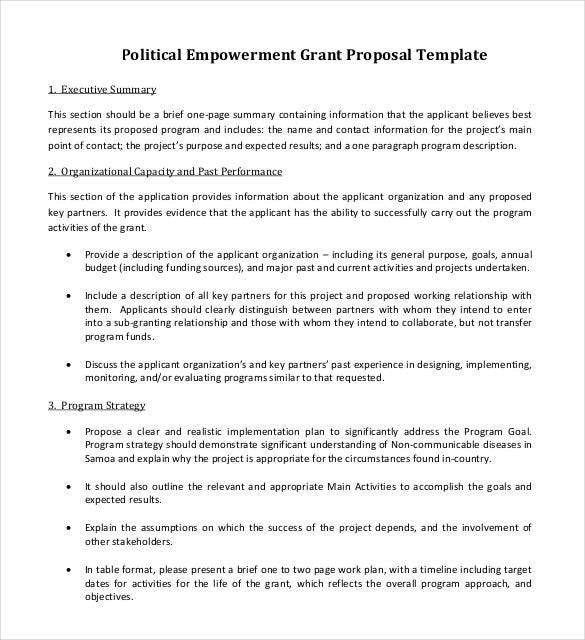 political empowerment grant proposal template