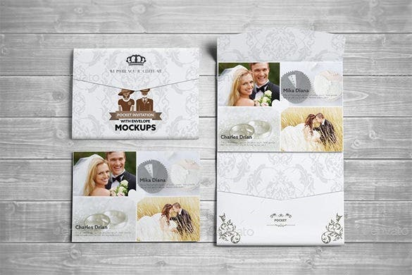 postcard pocket wedding invite with envelope for 9