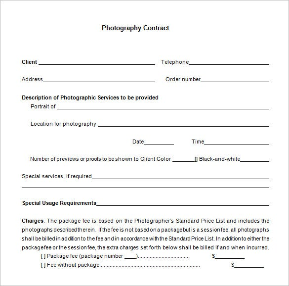 potrait commercial photography contract free download