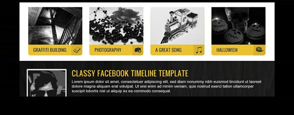 premium yellow facebook timeline template free