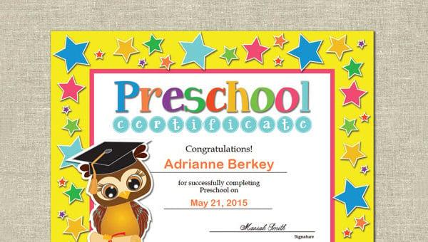 Preschool Certificate Template 16 Free Word Pdf Psd Format Download Free Premium Templates
