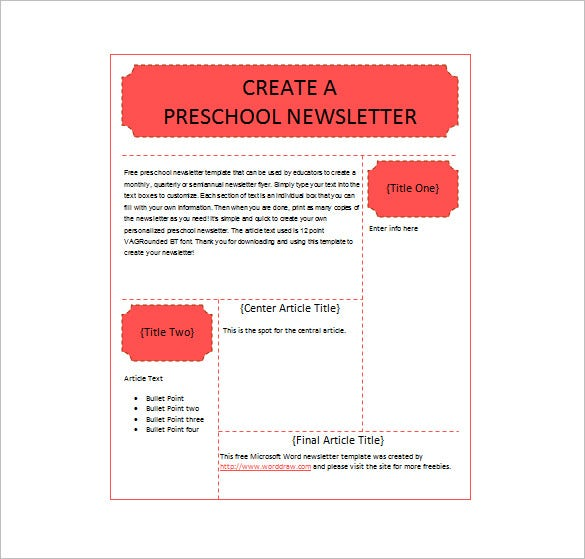 preschool newsletter template free download