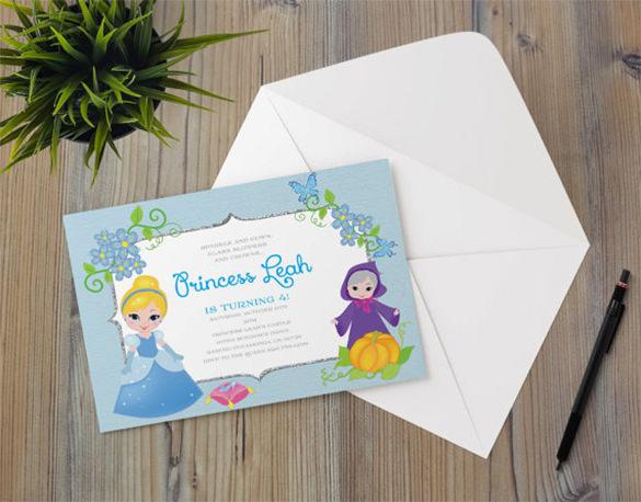 princess cinderella fairy invitation