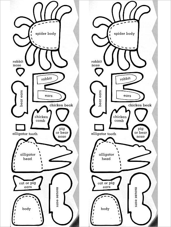 print out animal finger puppet template