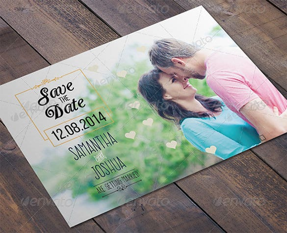 print save the date wedding post card psd template