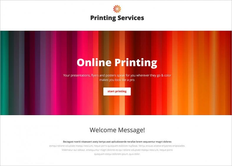 print shop responsive landing page template 788x565