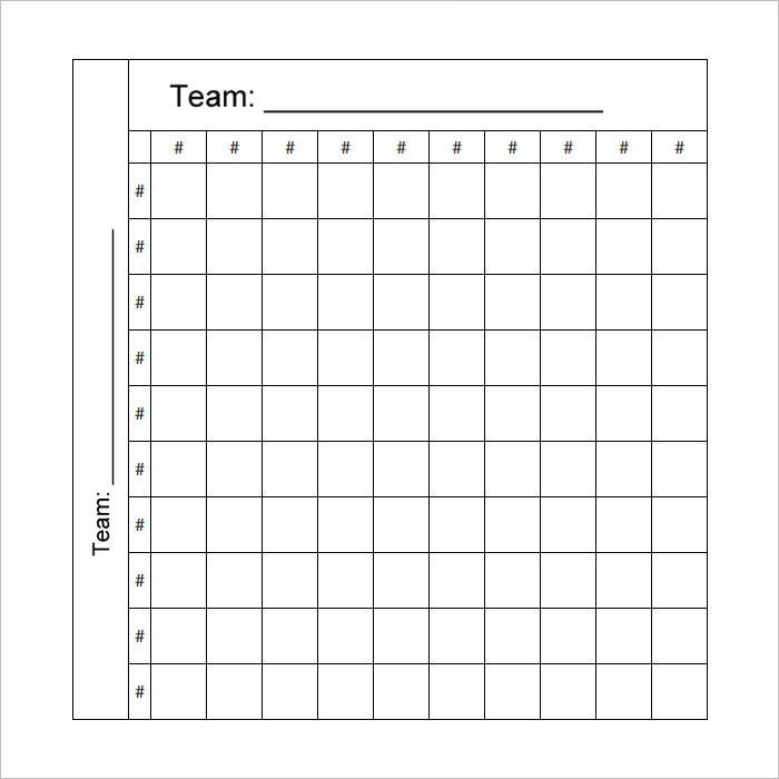 Printable 100 Square Nfl Football Pool Grid Template