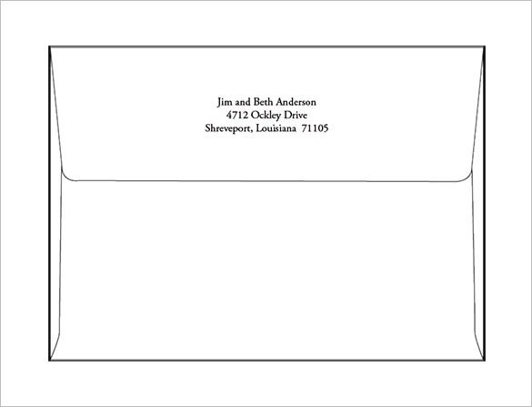 A Envelope Templates   Free Printable Word Psd  Format
