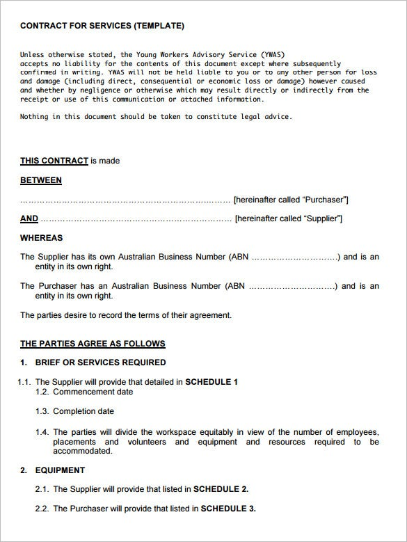 contract of service and contract for This is a service contract for a cleaning company performing regularly scheduled cleanings at a residence.