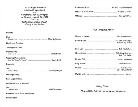 Printable Free Wedding Ceremony Programs Template Download
