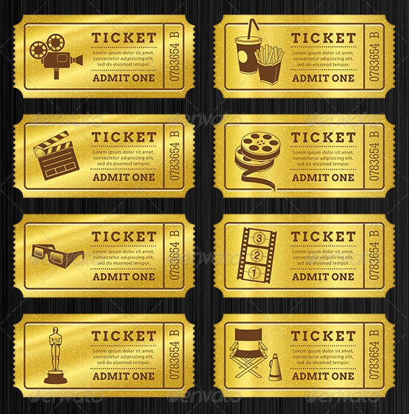 Printable Golden Tickets Templates Bundle  Blank Admit One Ticket Template