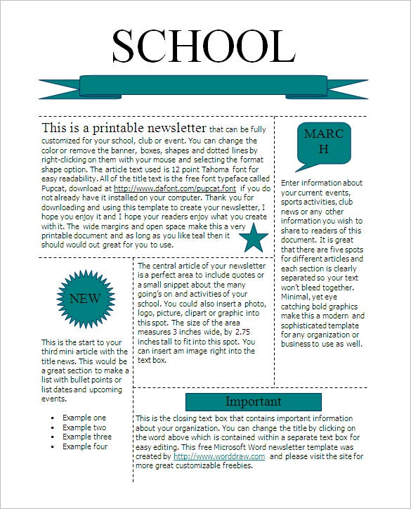 School Newsletter Templates  Ex