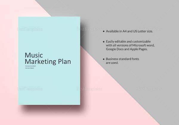 printable music marketing plan template in word